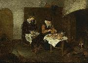Quirijn van Brekelenkam A Couple Having a Meal before a Fireplace oil painting