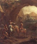 Adam Colonia Landscape with troopers and soldiers beneath a rocky arch oil