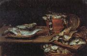 Alexander Adriaenssen Still Life with Fish,Oysters,and a Cat oil painting picture wholesale