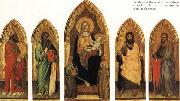 Andrea di Orcagna Madonna and Child Enthroned with Two Angels and SS.Andrew,Nicholas,john the Baptist and James oil