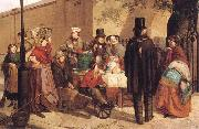 Charles Hunt A Coffee Stall Westminster oil