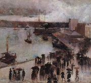 Charles conder Departure of the SS Orient from Circular Quay oil