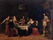 Christoph jacobsz.van der Lamen Cavaliers and courtesans in an interior oil painting artist