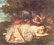 Courbet, Gustave The Young Ladies on the Banks of the Seine (Summer) oil painting picture wholesale