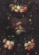 Daniel Seghers Garland of Flowers,with the Virgin and Child oil