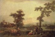 Francesco Zuccarelli Landscape with a Woman Leading a Cow oil