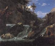 Jan Asselijn Landscape with Waterfall oil painting artist