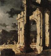 Leonardo Coccorante An architectural capriccio with figures amongst ruins,under a stormy night sky oil painting picture wholesale