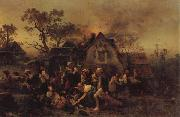 Ludwig Knaus A Farm Fire oil painting picture wholesale