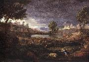 POUSSIN, Nicolas Strormy Landscape with Pyramus and Thisbe oil painting picture wholesale
