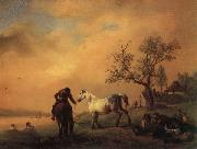 Philips Wouwerman Horses Being Watered oil painting artist