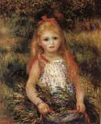 Pierre Renoir Girl with Flowers oil painting reproduction