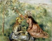 Pierre Renoir Girls Picking Flowers in a Meadow oil painting picture wholesale