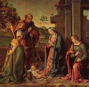 Raffaello Botticini Adoration of the Christ Child with St.Barbara and St.Martin oil painting artist