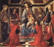 Sandro Botticelli The Madonna and Child Enthroned,with SS.Mary Magdalen,Catherine of Alexandria,John the Baptist,Francis,and Cosmas and Damian oil painting picture wholesale