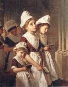 Sophie anderson Foundling Girls in their School Dresses at Prayer in the Chapel oil painting artist