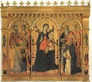 Vecchietta Madonna and Child Enthroned with SS.Bartholomew,James,Eligius,Andrew,Lawrence and Dominic oil painting artist