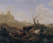 William Romeyn Cattle and sheep by a stream in a pasture,a town beyond oil painting artist
