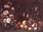 unknow artist Still life of Roses and convulvuli in a Glass vase,Together with peaches,grapes,pears and plums oil painting picture wholesale