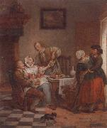 unknow artist An interior with figures drinking and eating fruit oil painting picture wholesale