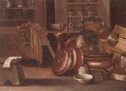 unknow artist A Kitchen still life of utensils and fruit in a basket,shelves with wine caskets beyond oil painting picture wholesale