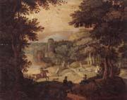 unknow artist a wooded landscape with a hunting party at the edge of a lake,a castle beyond oil painting picture wholesale