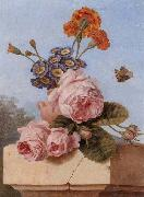 unknow artist Still life of roses,carnations and polyanthers in a terracotta urn,upon a stone ledge,together with a tortoiseshell butterfly oil painting picture wholesale