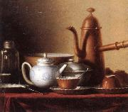 unknow artist Still life of a chocolate pot,teapot,sucrier,bowl,teajar,tea cups and saucers,and silver spoons,all upon a draped table top oil painting picture wholesale