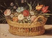 unknow artist Still life of roses,tulips,chyrsanthemums and cornflowers,in a wicker basket,upon a ledge oil painting picture wholesale