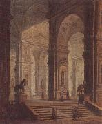 unknow artist The interior of a classical building,with soldiers guarding the entrance at the base of a set of steps oil painting picture wholesale