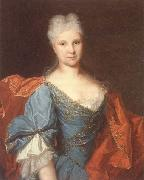 unknow artist Portrait of a lady,half-length,wearing a blue embroidered dress with a scarlet mantle oil painting picture wholesale