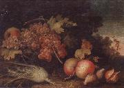 unknow artist Still lifes of Grapes,figs,apples,pears,pomegranates,black currants and fennel,within a landscape setting oil painting picture wholesale