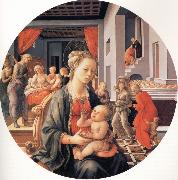 Fra Filippo Lippi The Madonna and Child with the Birth of the Virgin and the Meeting of Joachim and Anna oil painting picture wholesale