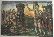 Jacques Le Moyne de Morgues Rene de Laudonniere and the Indian Chief Athore Visit Ribaut's Column oil painting artist