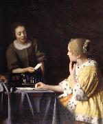Johannes Vermeer Mistress and maid oil painting picture wholesale