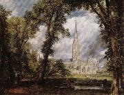John Constable View of Salisbury Cathedral Grounds from the Bishop's House oil painting picture wholesale