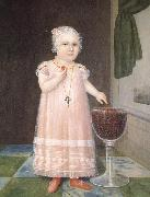 Johnson Joshua Little Girl in Pink with Goblet Filled with Strawberries:A Portrait oil painting artist