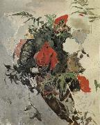 Mikhail Vrubel Red Flowers and Begonia Leaves in a basket oil painting picture wholesale