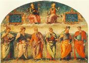 PERUGINO, Pietro Prudence and Justice with Six Antique Wisemen oil painting picture wholesale
