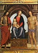 PERUGINO, Pietro The Madonna between St. John the Baptist and St. Sebastian oil painting picture wholesale