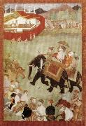 unknow artist Shah Jahan Riding on an Elephant Accompanied by His Son Dara Shukoh Mughal oil painting picture wholesale
