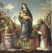 ALBERTINELLI  Mariotto The Virgin and Child Adored by Saints Jerome and Zenobius (mk05) oil painting picture wholesale