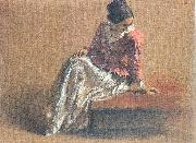 Adolph von Menzel Costume Study of a Seated Woman: The Artist's Sister Emilie oil