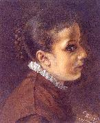 Adolph von Menzel Head of a Girl oil painting reproduction
