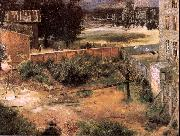 Adolph von Menzel Rear of House and Backyard oil painting picture wholesale