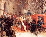 Adolph von Menzel Gustav Adolph Greets his Wife outside Hanau Castle in January 1632 oil