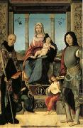 Francesco Marmitta The Virgin and Child with Saints Benedict and Quentin and Two Angels (mk05) oil painting artist