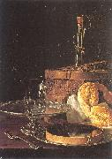 Melendez, Luis Eugenio Still-Life with a Box of Sweets and Bread Twists oil painting artist