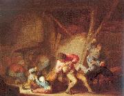 Ostade, Adriaen van Drinking Figures and Crying Children oil painting picture wholesale