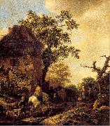 Ostade, Isaack Jansz. van The Outskirts of a Village with a Horseman oil painting artist